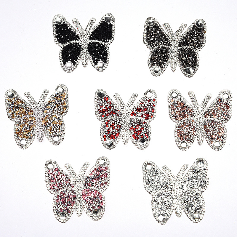 New Crystal Rhinestone Butterfly Patches for Clothing Iron on Clothes Appliques Badge Stripes Fabric Sticker Apparel Accessories