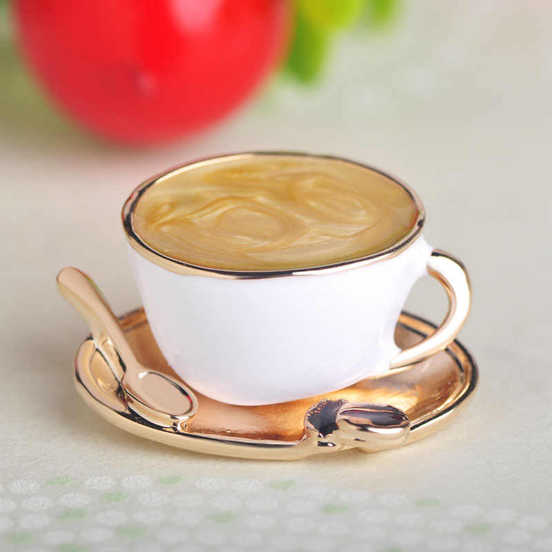Blucome Fashion Coffee Cup Spoon Disc Shape Brooches White Enamel Gold Color Brooch Pins Women Men Clothes Suit Coat Accessories