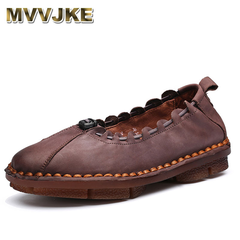 MVVJKE Handmade Autumn Women Genuine Leather Shoes Cowhide Loafers Real Skin Shoes Folk Style Ladies Flat Shoes For Mom Sapato original handmade autumn women genuine leather shoes cowhide loafers real skin shoes folk style ladies flat shoes for mom sapato