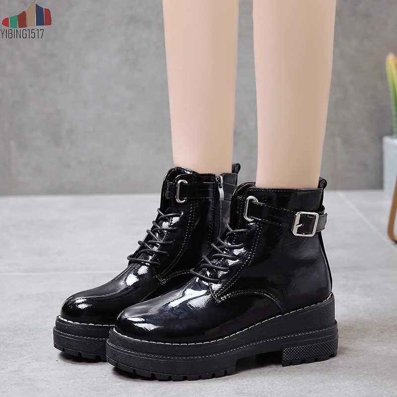 Mujer Moda Platform ayakkabılar Kadınlar 2018 Punk Siyah Gotik yarım çizmeler Bayan Platformu Kama Lace Up Motosiklet Botları
