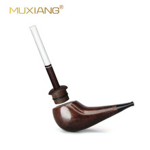 Ebony Pipe Trumpet Style Short Tobacco Pipe Cigarette Tobacc