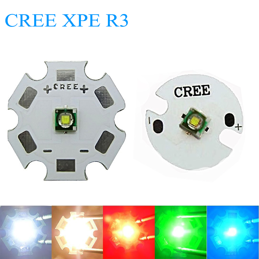 10 PCS LED CREE XPE R3 Chip 3W High Power light XP-E LED Lamp with16MM heatsink Cool White Warm l White Red Green Blue