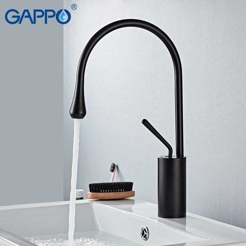 GAPPO смесители для умывальника матовый золотой кран для ванной смеситель для раковины высокие краны водопад смеситель современный кран для ...