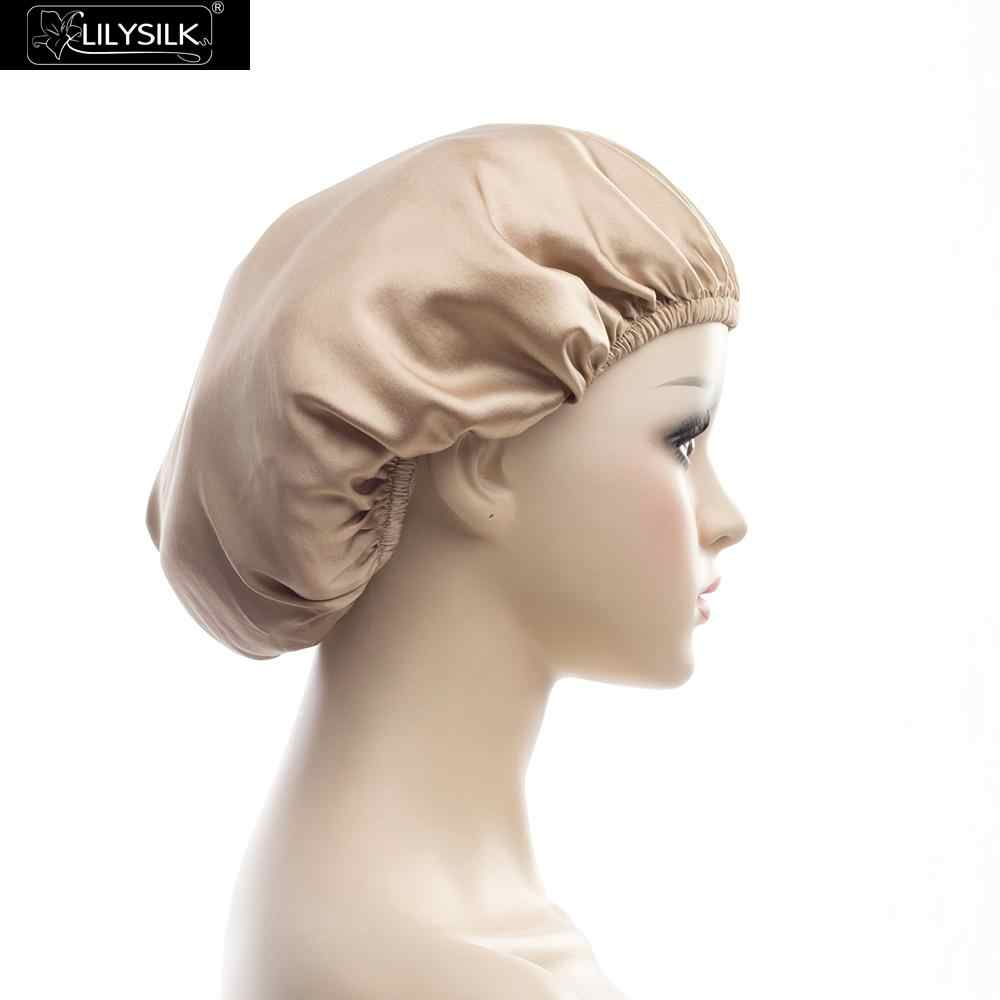 LILYSILK Silk Sleeping Cap Natural 19mm Sleep Night Cap Head Cover Bonnet for Curly Hair One Size White Coffee