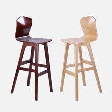 Твердый деревянный барный табурет скандинавский креативный стул с высокой спинкой бар высокий стул обеденный стул высокий стул современный минималистичный передний барный стул