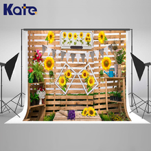 Kate 200x300cm Retro Sunflower Wood Board Photo Background Kids Baby Shower Washable Studio