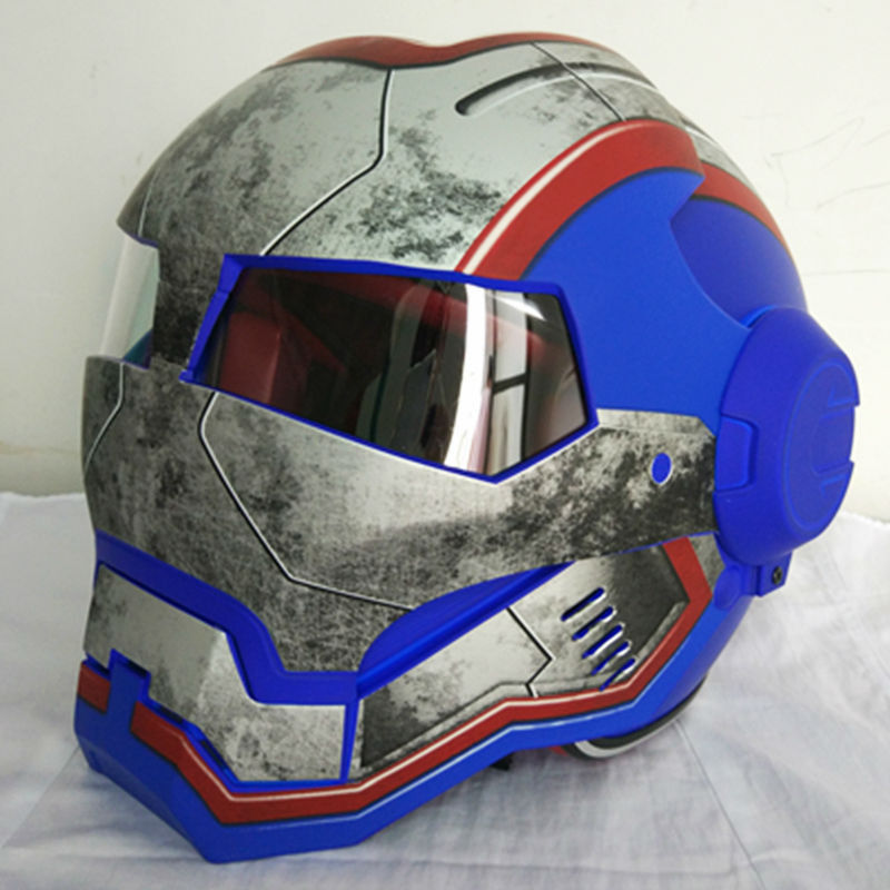 Matte Blue Retro MASEI IRONMAN Motorcycle Full Face Skull Helmet S M L XL XXL