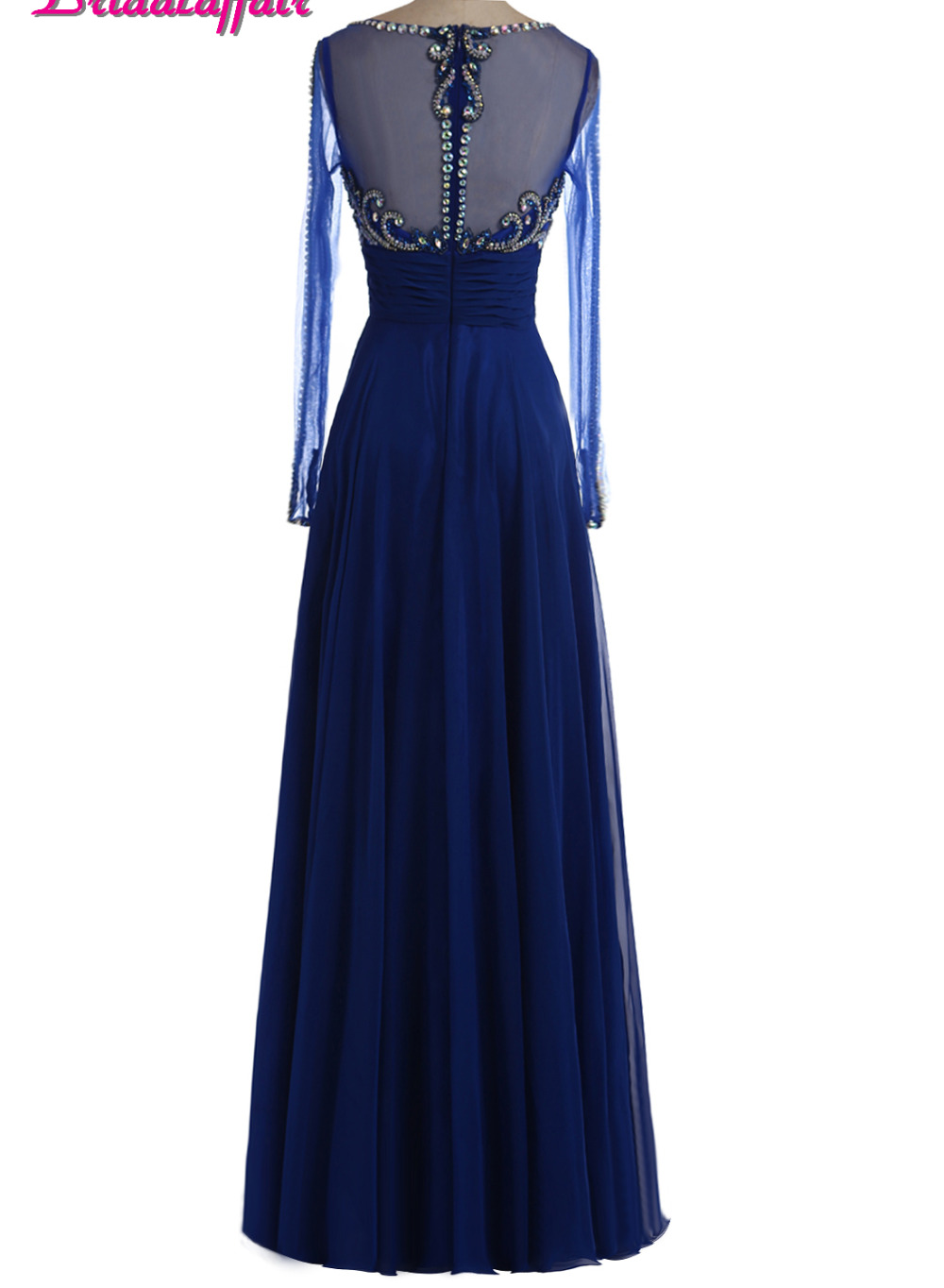 b4be4897304 BridalaffairReal Photo Vestido de festa Deep Blue Beads Prom Dresses 2018  Scoop Neck Long Sleeve Party Prom Dress Robe de soiree-in Prom Dresses from  ...