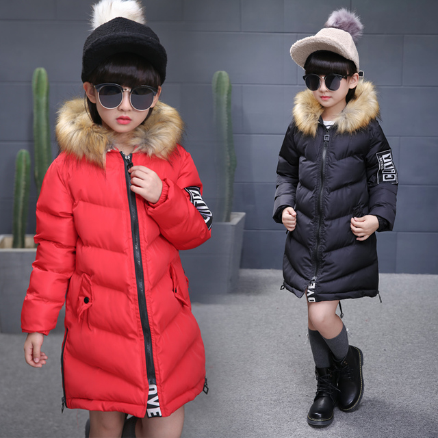 29f298cd7d93 2017 Winter Children s Clothing Kids Down Cotton Outerwear Girls Wadded Jacket  Child medium-long Thickening
