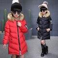 Roupas de Inverno 2017 das Crianças Crianças de Algodão Para Baixo Outerwear Meninas Amassado Jaqueta Criança Espessamento médio-longo Algodão-acolchoado casaco