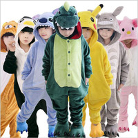 Children Kids Flannel Animal Pajamas Anime Cartoon Costumes Sleepwear Cosplay Onesie Unicorn Panda Stitch Giraffe Tiger