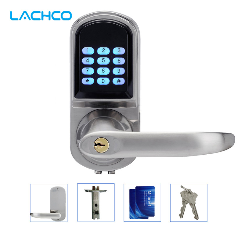 LACHCO Electronic Door Lock Password, 2 Cards, 2 Keys Smart Digital Keypad Lock Keyless Intelligent Entry Satin Nickel L16071BS