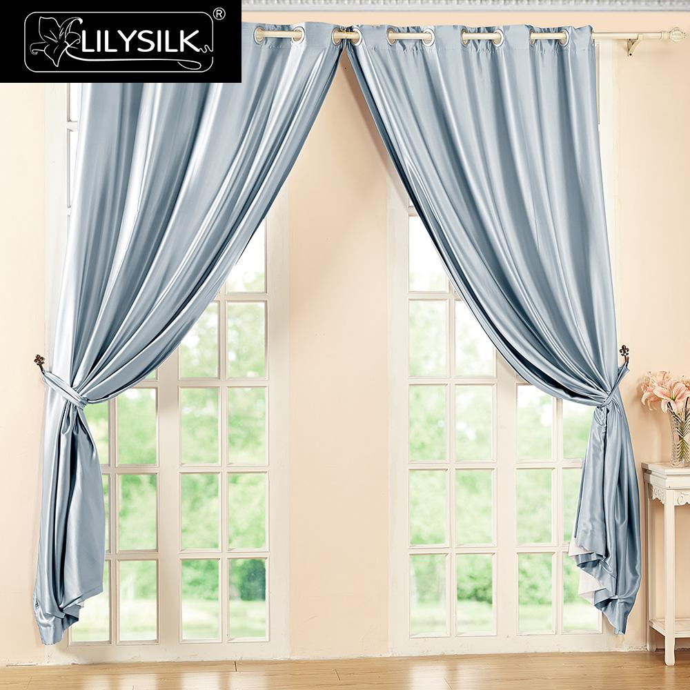 lilysilk silk drapes curtain panels 22 momme classical windows drape grommet header free - Silk Drapes