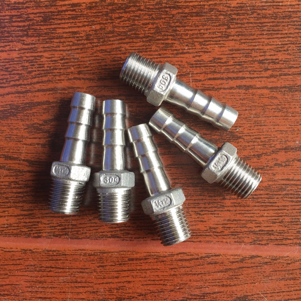 5pcs 1/4x 8mm Stainless steel 304 Male NPT thread Pipe fitting barb Hose Tail Connector