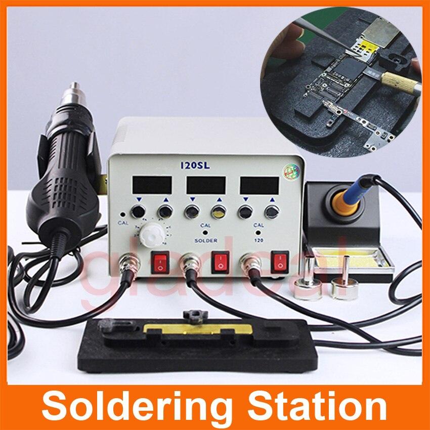 220V Multifunction 3 in 1 Soldering Rework Station iron Heating Hot Air Gun BGA  IC Chip For iPhone Motherboard Repair