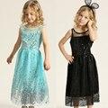 Marca vestido de la muchacha embroma la ropa de verano vestido de la muchacha Perlas elsa partido vestido de princesa hermosa ropa de las muchachas vestido de novia