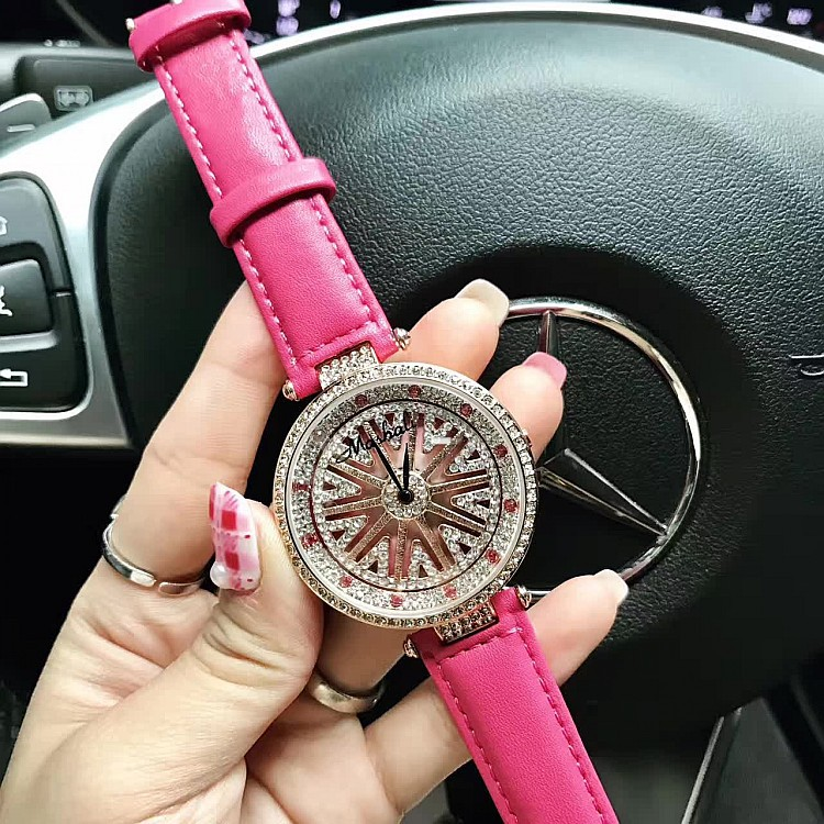 Luxury Brand Watch Women Big Diamond Stone Watches Lady Shining Rotation Dress watch Female Genuine Leather Quartz Wristwatches bs brand women luxury fashion rhinestone watches lady shining dress watch square bracelet wristwatch ladies diamond quartz watch