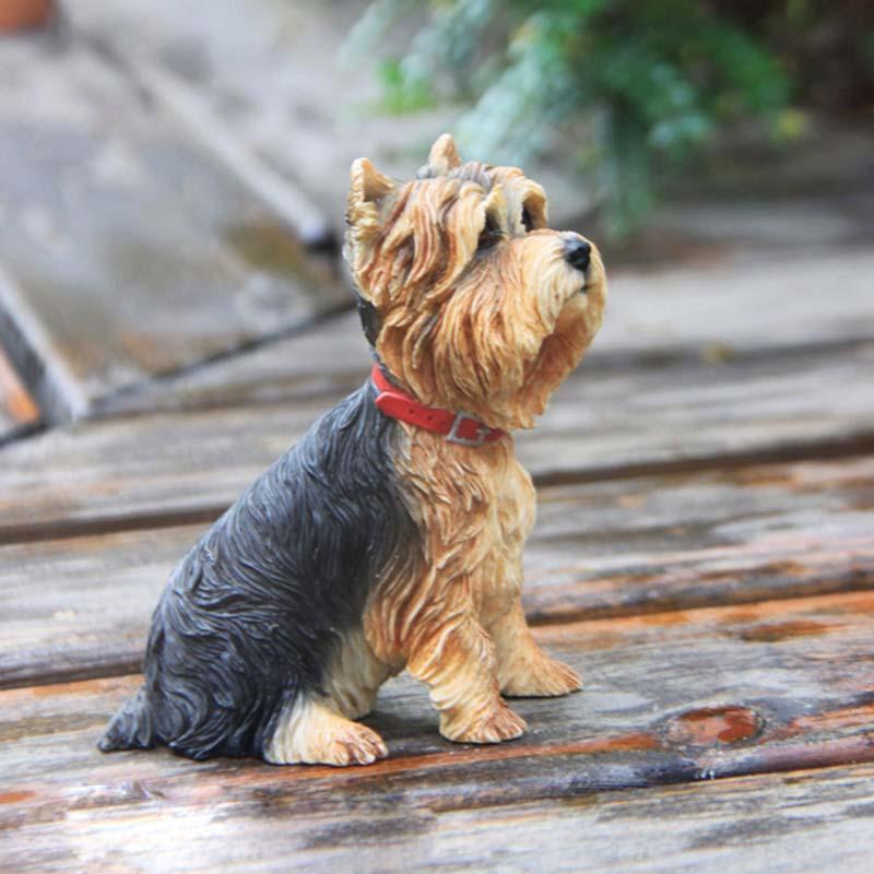 Mnotht 1/6 Yorkshire Terrier Dog Simulation Dog Model Model Anmial - Խաղային արձանիկներ - Լուսանկար 3