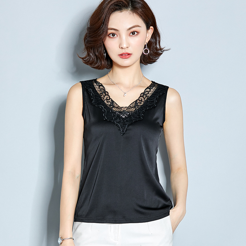 AOSSVIAO Sexy Top Satin Tank-Top Cami Embroidery Lace Pink Black Female White Elegant
