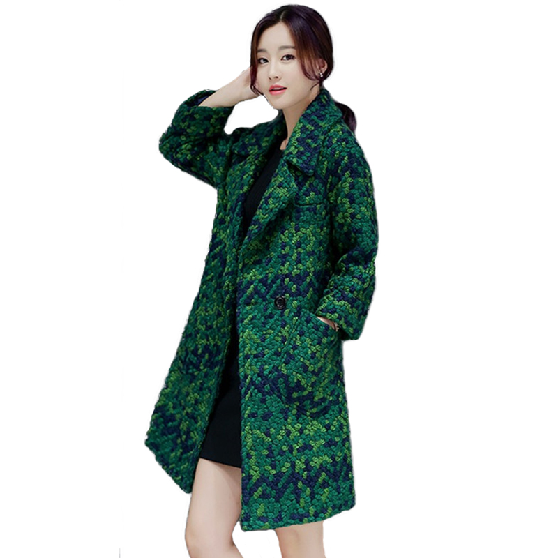 2019 Autumn Winter Women Plaid Woolen Coat Fashion Green Crude Woolen Jacket female Plus size Thicken