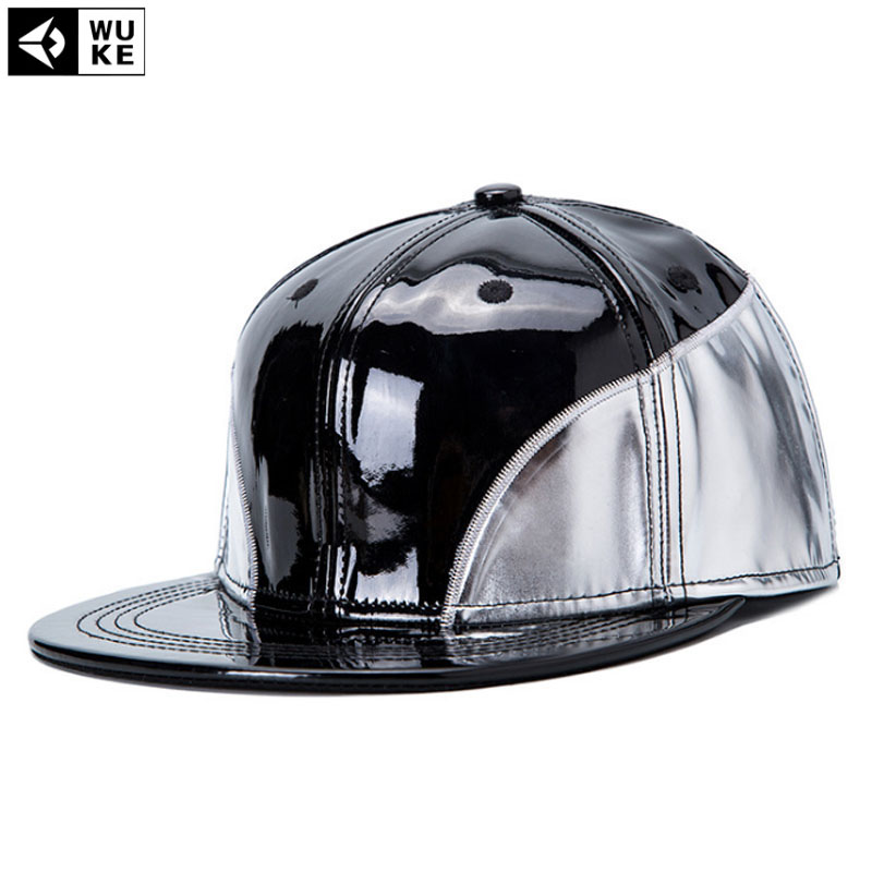 [Wuke] New PU Leather Hip Hop Hats Black Skateboard Hip-Hop Snapback Cap Z-2629