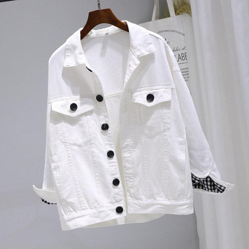 Spring Female Black White Denim Jacket Student Harajuku BF Female Bomber Jeans Coat Solid Batwing Sleeve Female Jacket