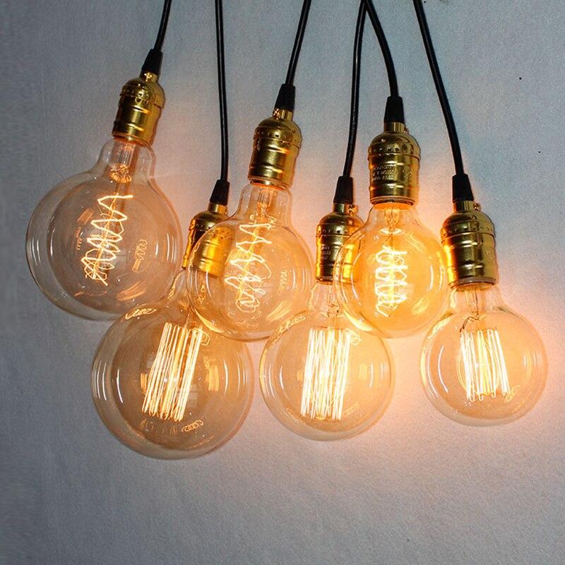 Vintage E27 Edison Bulb Retro Lamp G80 G95 G125 40W Incandescent Light  Bombillas Squirrel Cage Decorative Filament Ampoule