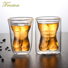Creative Sexy Human Body Beer Glass Cup Funny Beauty Muscle Man Double Wall Glasses Wine Whiskey Vodka Shot Valentine Gift