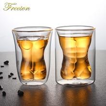 купить Creative Sexy Human Body Beer Glass Cup Funny Beauty Muscle Man Double Wall Glasses Wine Whiskey Vodka Shot Glass Valentine Gift дешево