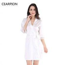 83f851a64 CEARPION Branco Noiva Dama de Honra Laço de Cetim Camisola Robe Sleepwear  Sexy Lingerie Faux Seda