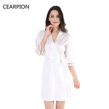 CEARPION White Bride Bridesmaid Robe Sleepwear Sexy Lace Satin Nightgown Lingerie Women Kimono Dressing Bath Gown With Waistband