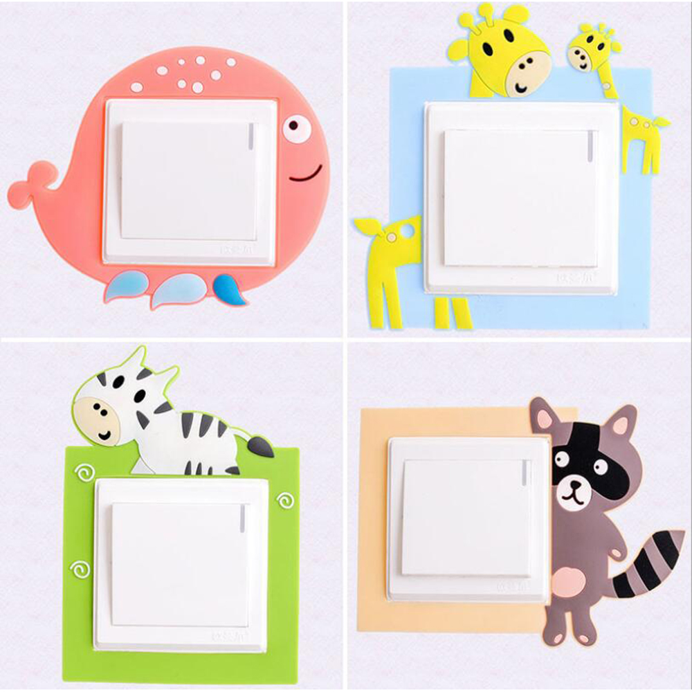 1PC Switch Decorative Stickers Switch Cover Cartoon Animals Silica Gel Switch Protective Cover For Home Switch 60gC
