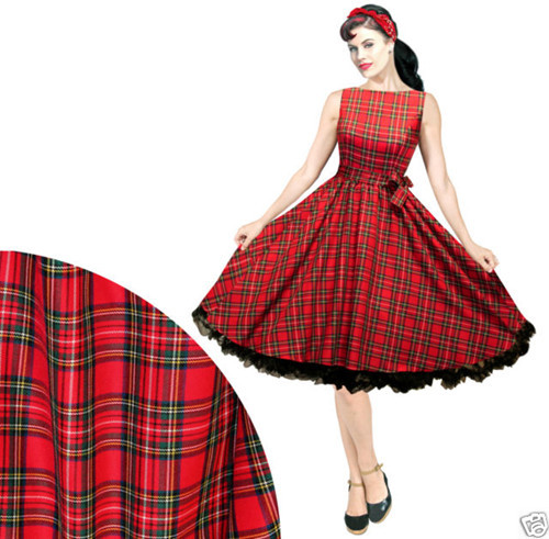 Red Plaid Rockabilly Dresses Plus Size 10 20 Red Pin Up Dress