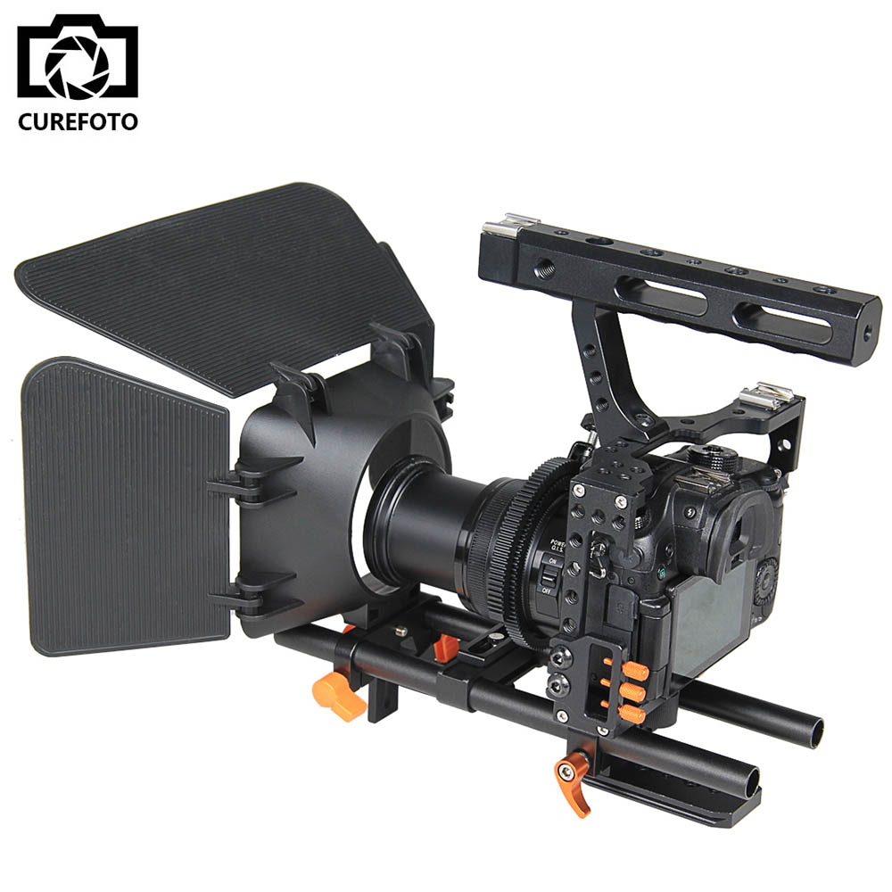 DSLR Camera Rig Handle Video Stabilizer Camera Cage & Follow Focus & Matte Box Kit For Sony A7S A7 A7R A7RII A7SII Panasonic GH4 yelangu dslr rig c shape stabilizer shoulder mount rig matte box follow focus dslr cage for canon nikon sony dslr camera video