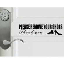Yoja 25*6.3cm engraçado por favor remova seus sapatos porta decalque e adesivo de parede decoração preto a40555