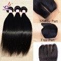 Malasia cabello liso con cierre 3 unids virgen del pelo con 1 unid base del cordón malasia armadura del pelo bundle medio / free / 3 parte