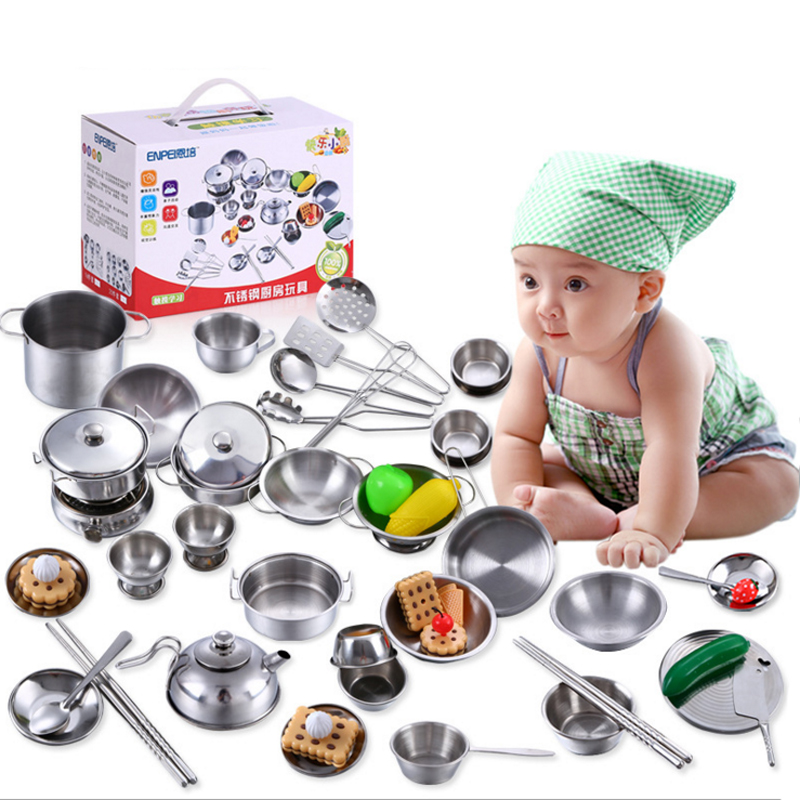Espeon 25Pcs Stainless Steel Kids House Kitchen Toy Miniature Cooking Cookware Children Pretend & Play Kitchen Playset - Silver
