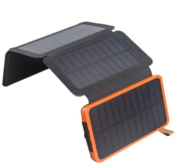Folds Portable Charger Solar Charger Solar Power Bank Dual USB External Battery LED Pover bank For Phones Digital camera MP3