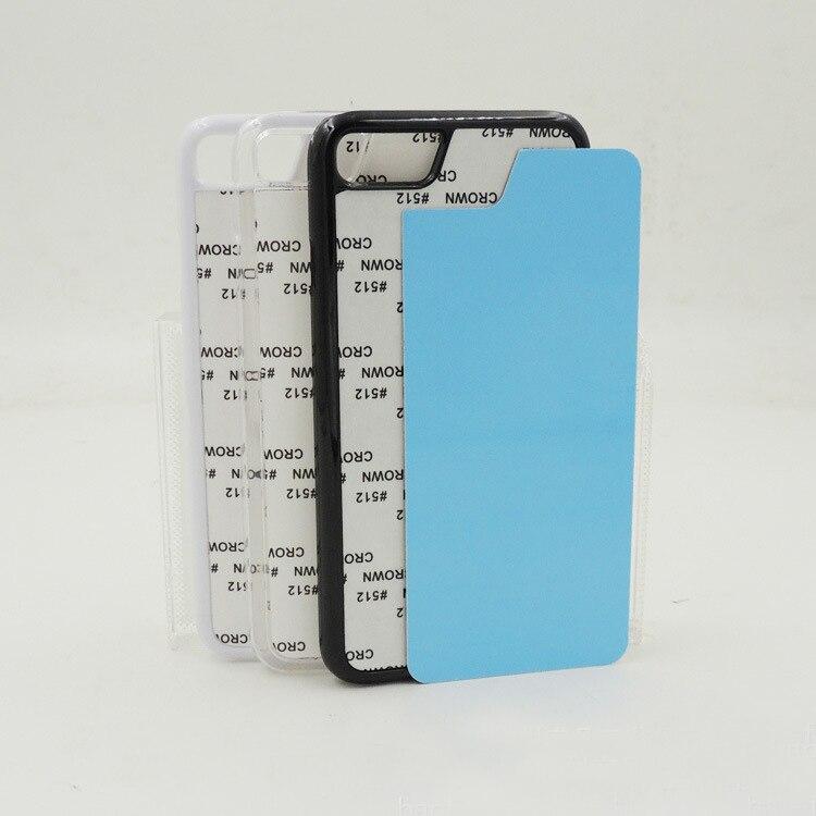 10 Teile/los Weiß Schwarz Transparent Blank 2d Sublimation Hartplastik Pc Nut Fall Für Iphone 7/8 Aluminium Einsätze Kleber