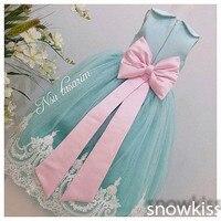 ארוכה מנטה ירוקה/סומק ורוד שמלות ילדה פרח עם קשת תחרה לבנה תינוק מסיבת יום הולדת שמלת תחרות סוכר כדור כותנות