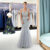 Gorgeous 2019 Evening Dresses Long Sheer Mermaid Evening Gown Silver Feather Crystal Beaded Sweep Train Robe de Soiree QS7