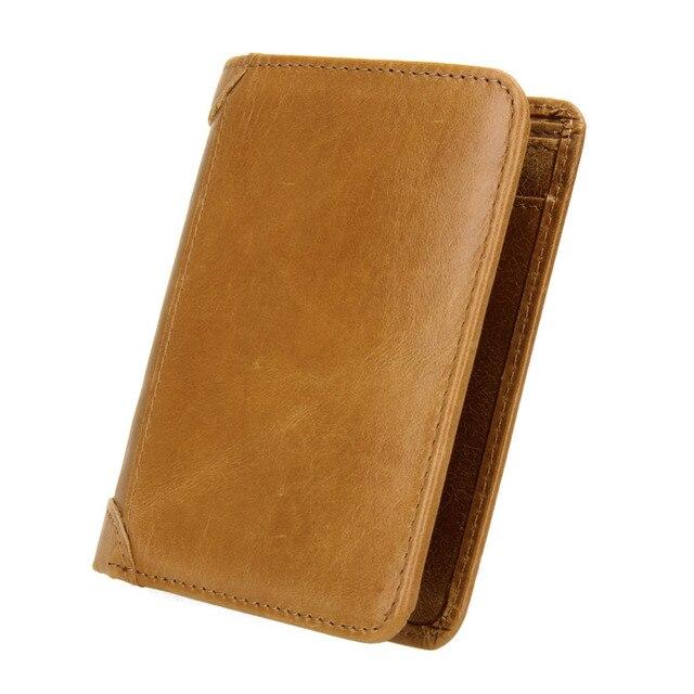 cce5d0d2f6e48 100% Prawdziwej Skóry Mężczyźni Portfel Portmonetka Monety Pieniężnych  Vintage Design Krótki Mały Posiadacz Karty Portfele
