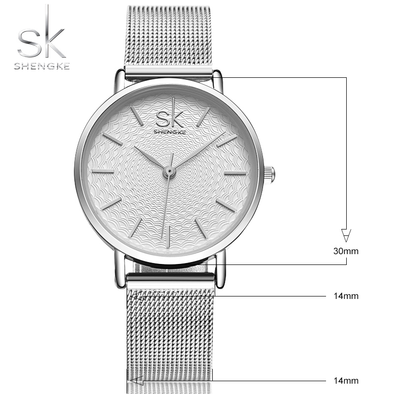 2020 SK Super Slim Sliver Mesh Stainless Steel Watches Women Top Brand Luxury Casual Clock Ladies Wrist Watch Relogio Feminino 6