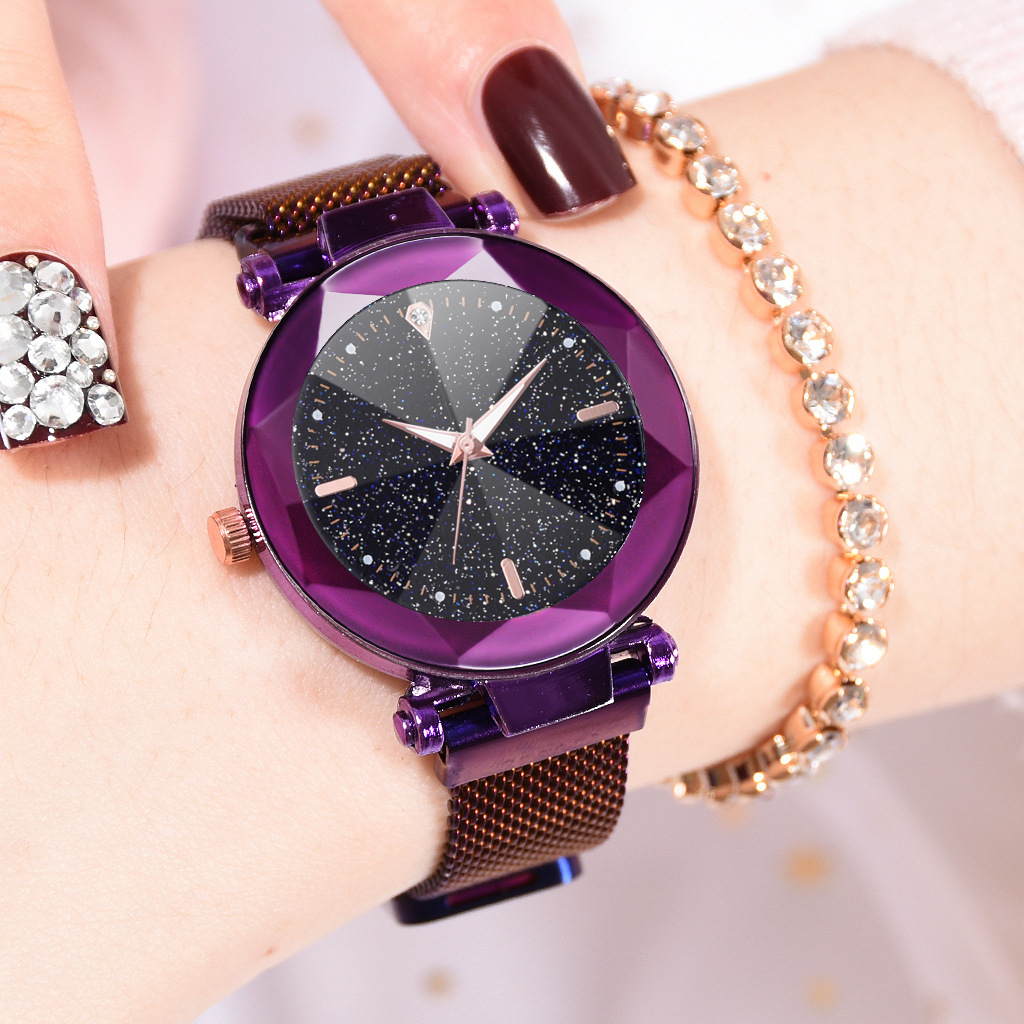 Dropshipping 2019 Luxury Women Watches Stainless Steel Magnetic Buckle Starry Sky Crystal Wrist Watches For Women Ladies  Watch