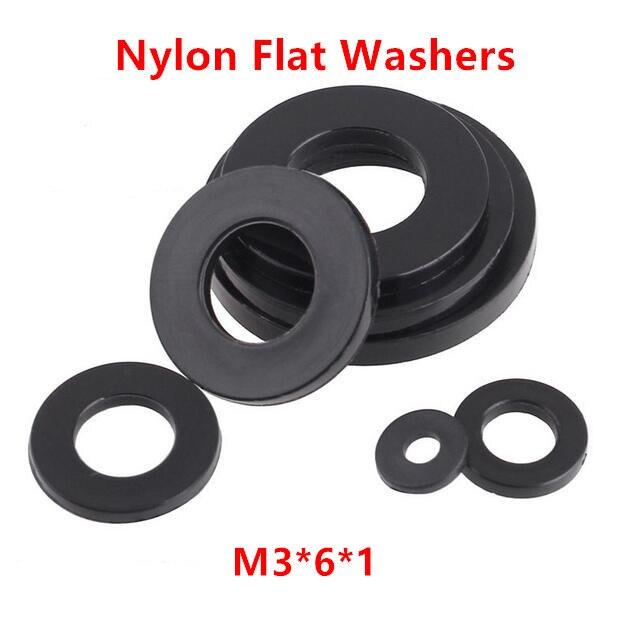 100pcs New BLACK NYLON PLASTIC Washer Gasket M3*7*1.0mm
