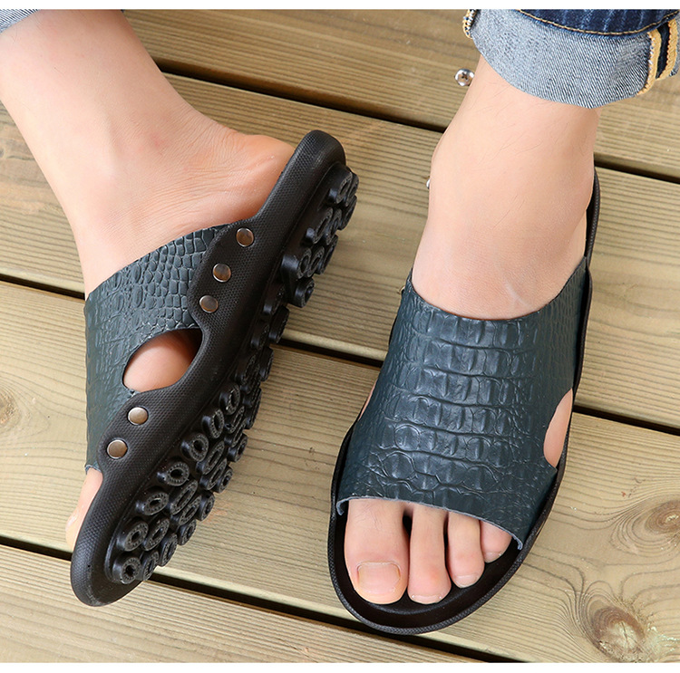 2018 New Men Genuine Leather Holiday Beach Shoes Flip Flops Men`s Casual Flat Shoes Sandals Summer Slippers For Men (10)