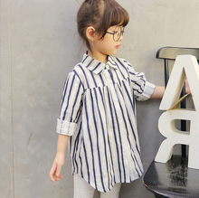 Baby Girls Clothing Spring Autumn Classical Striped Long Sleeve Blouse Cotton Fashion Individuality High Quality Children Shirts