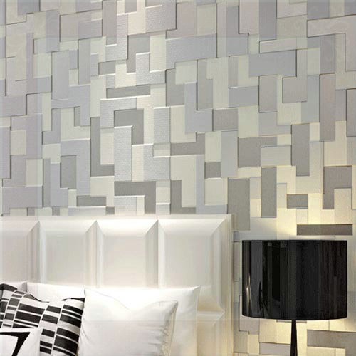 Embossed 3d stereoscopic mosaic wallpaper bedroom modern for Grey wallpaper bedroom