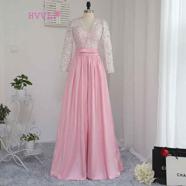 d0bcd444890 New Pink Evening Dresses 2019 A-line V-neck Long Sleeves Taffeta Appliques  Beaded Long Evening Gown Prom Dress Prom Gown