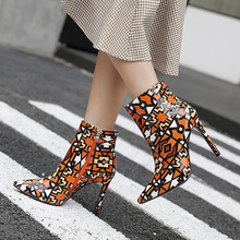 Patent PU Shoes Ankle Boots For Women High heels shoes for Spring Boots Women female pointed Toe shoes plush Plus Size 40-42 цена